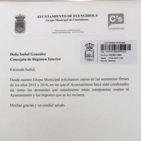 El Grupo Municipal Ciudadanos Fuengirola denuncia la ocultación una sentencia que condena, al Ayuntamiento de Fuengirola, a pagar más de 5.500.000€