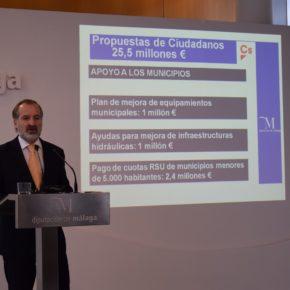 Ciudadanos incluye medidas por valor superior a los 25,4 millones de euros en los presupuestos de Diputación de 2019